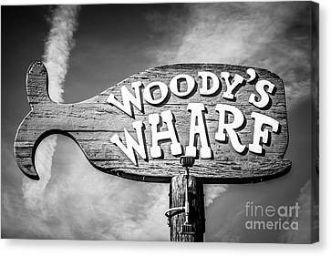 Woody's Wharf Sign Picture In Newport Beach Canvas Print by Paul Velgos