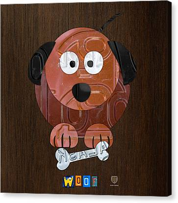 Woof The Dog License Plate Art Canvas Print