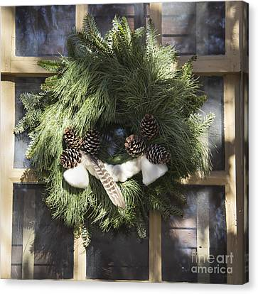 Wool And Feather Wreath Canvas Print by Teresa Mucha