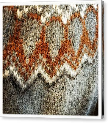 Woolen Jersey Detail Grey And Orange Canvas Print