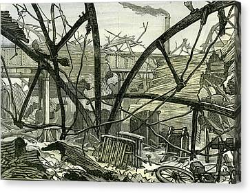 Woolwich Arsenal London 1887 Damage To The Mounting Shed Canvas Print
