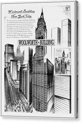 New York Woolworth Building 75 - Black And White Canvas Print by Art America Online Gallery