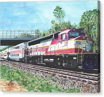 Worcester Bound T Train Canvas Print by Cliff Wilson