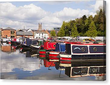 Worcester Diglis Basin Narrow Boats Canvas Print