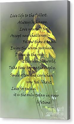Words For My Teen Canvas Print by Cathy  Beharriell
