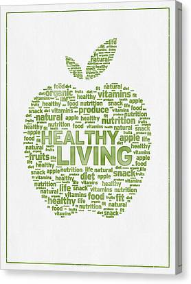 Produce Canvas Print - Words Healthy Living - Green Ink by Aged Pixel