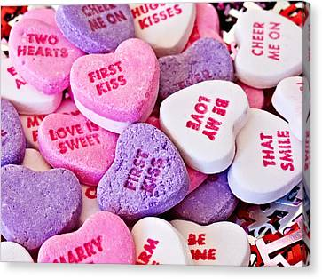 Canvas Print featuring the photograph Valentine Candy Hearts by Vizual Studio