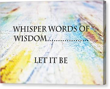 Words Of Wisdom Canvas Print by Toni Somes