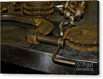 Work Bench Rusty Tools And Motorcycle Sprockets  Canvas Print by Wilma  Birdwell