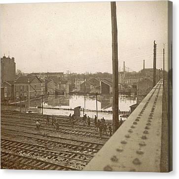 Work On Railway Tracks During The Flooding Of Paris Canvas Print by Artokoloro