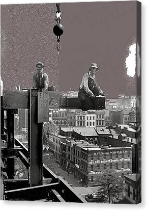 Workers Constructing Building Glass Negative Harris And Ewing Collection Washington D.c.  1929-2013 Canvas Print by David Lee Guss