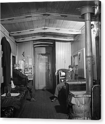 Workers In The Caboose 1942 Canvas Print by Mountain Dreams