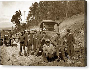 Workers On Highway One Monterey Carmel Hill California 1929 Canvas Print by California Views Mr Pat Hathaway Archives