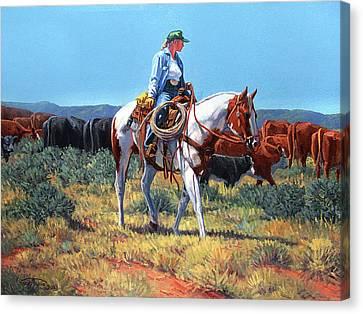 Arizona Cowgirl Canvas Print - Working Cowgirl by Randy Follis