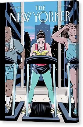 Sweat Canvas Print - Workout Reading by R Kikuo Johnson
