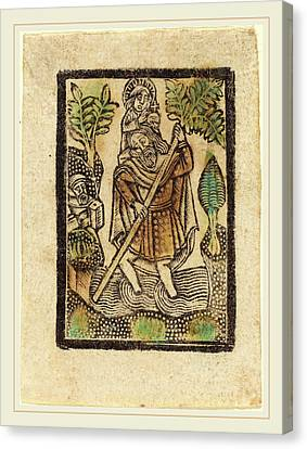 Saint Christopher Canvas Print - Workshop Of Master Of The Aachen Madonna by Litz Collection