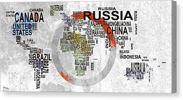 World Country Map Canvas Print by T Lang