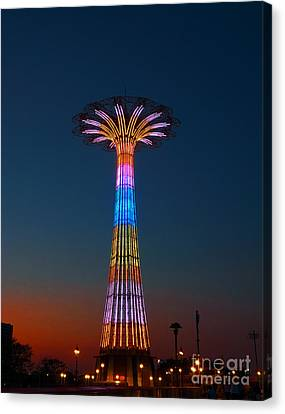 World Famous Parachute Jump In Coney Island Beach Canvas Print