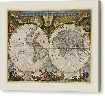 World Map 1664 Ad With Small Matching Border Canvas Print by L Brown