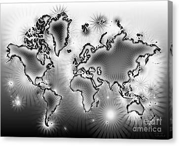 World Map Amuza In Black And White Canvas Print by Eleven Corners