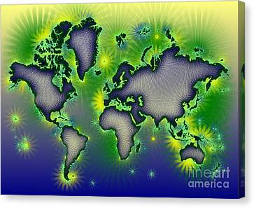 World Map Amuza In Blue Yellow And Green Canvas Print by Eleven Corners
