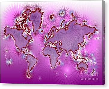 World Map Amuza In Pink And Purple Canvas Print