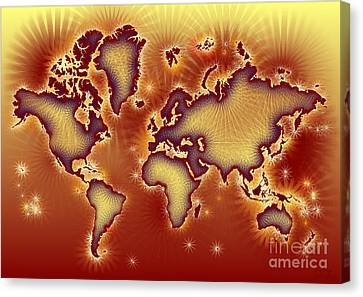 World Map Amuza In Red And Yellow Canvas Print by Eleven Corners