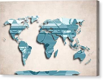 World Map Canvas Print - World Map Art - Decorative Design by World Art Prints And Designs