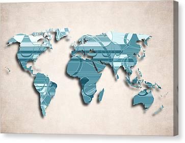 World Map Canvas Print - World Map Art II  - Decorative Design by World Art Prints And Designs