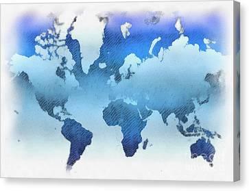 World Map Artwork Canvas Print by Antony McAulay