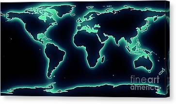World Map Blue/green Glow Canvas Print by Pixel Chimp