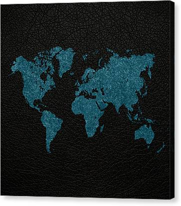 World Map Blue Vintage Fabric On Black Leather Canvas Print by Design Turnpike
