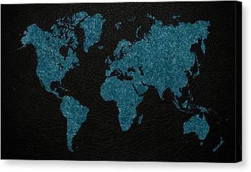 World Map Blue Vintage Fabric On Dark Leather Canvas Print by Design Turnpike