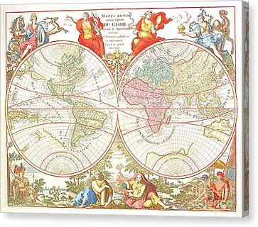 World Map C1694 Canvas Print by Safran Fine Art