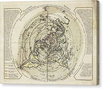 World Map Centred On North Pole Canvas Print by Library Of Congress, Geography And Map Division