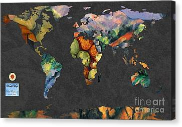World Map  Cezanne 2 Canvas Print by John Clark