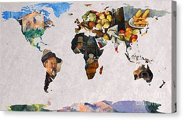 World Map Cezanne 3 Canvas Print by John Clark