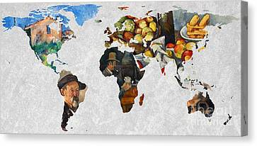 World Map Cezanne 4 Canvas Print by John Clark