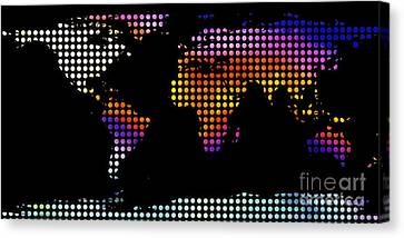 World Map Colourful Dots #2 Canvas Print by Pixel Chimp