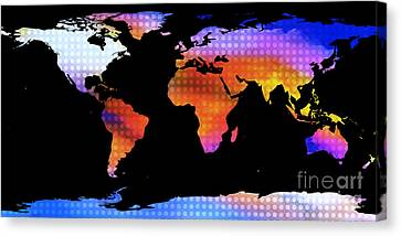 World Map Colourful Dots  Canvas Print by Pixel Chimp