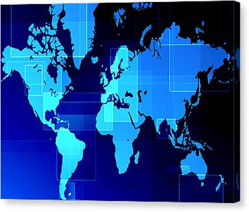 World Map Composition Canvas Print by Modern Art Prints
