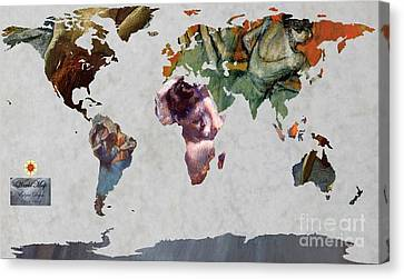 Degas 5  World Map Canvas Print by John Clark