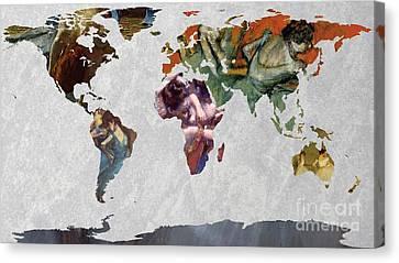 World Map   Degas 4 Canvas Print by John Clark