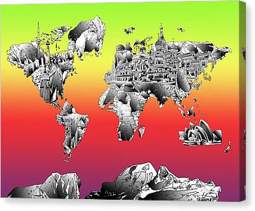 Colosseum Canvas Print - World Map Drawing Collage by Bekim Art