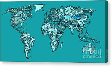World Map In Aquamarine Canvas Print