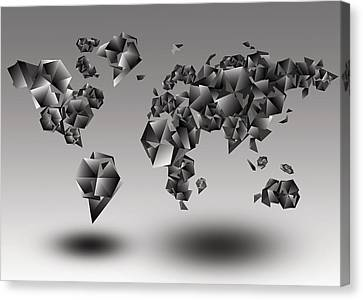 World Map In Geometic Gray  Canvas Print