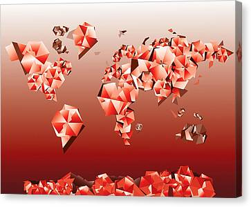 World Map In Geometric Red Canvas Print