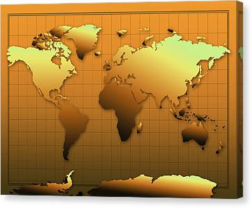 World Map In Gold Canvas Print