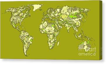 World Map In Khaki  Canvas Print