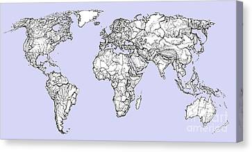 World Map In Pale Blue Canvas Print